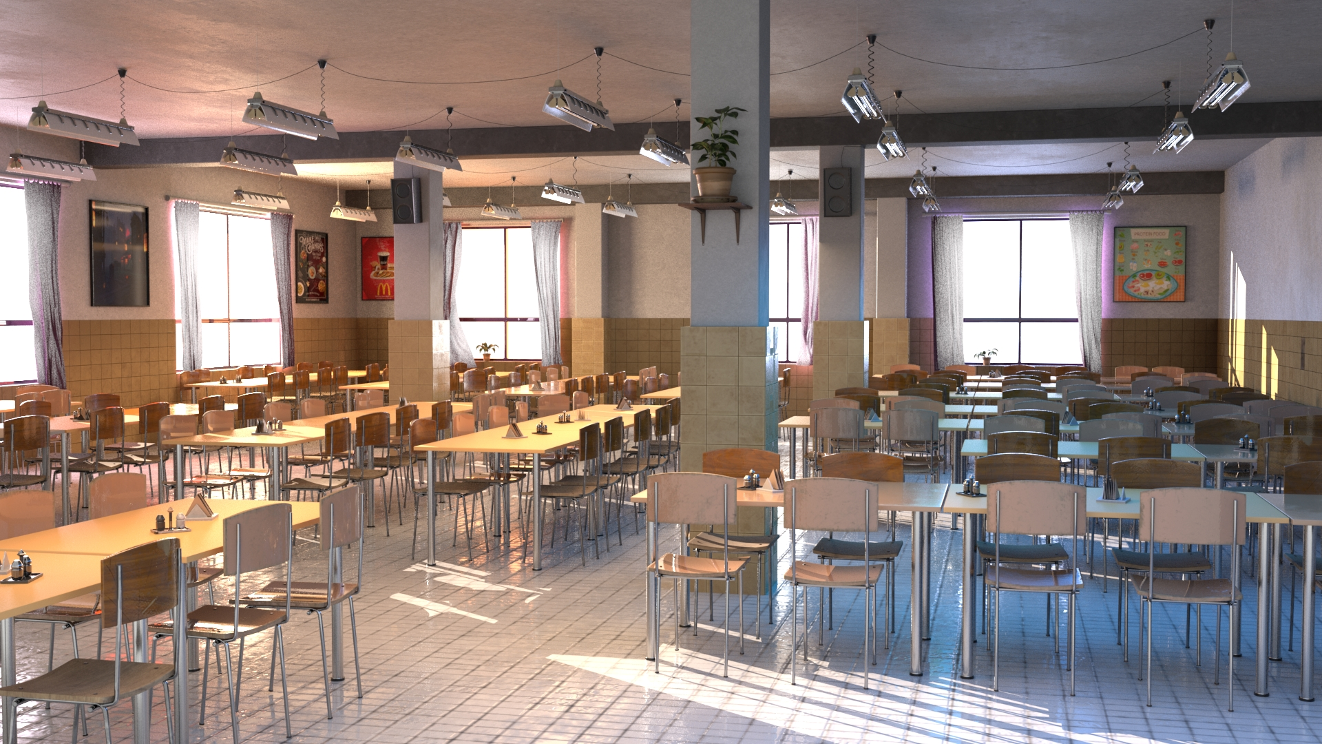 سالن غذاخوری مدرسه