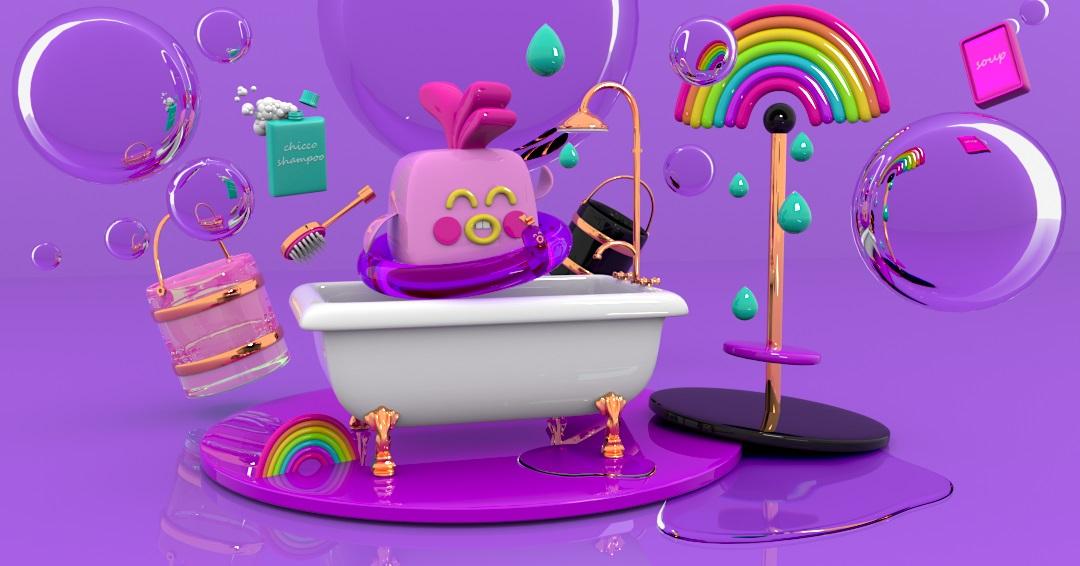 chiken's bath