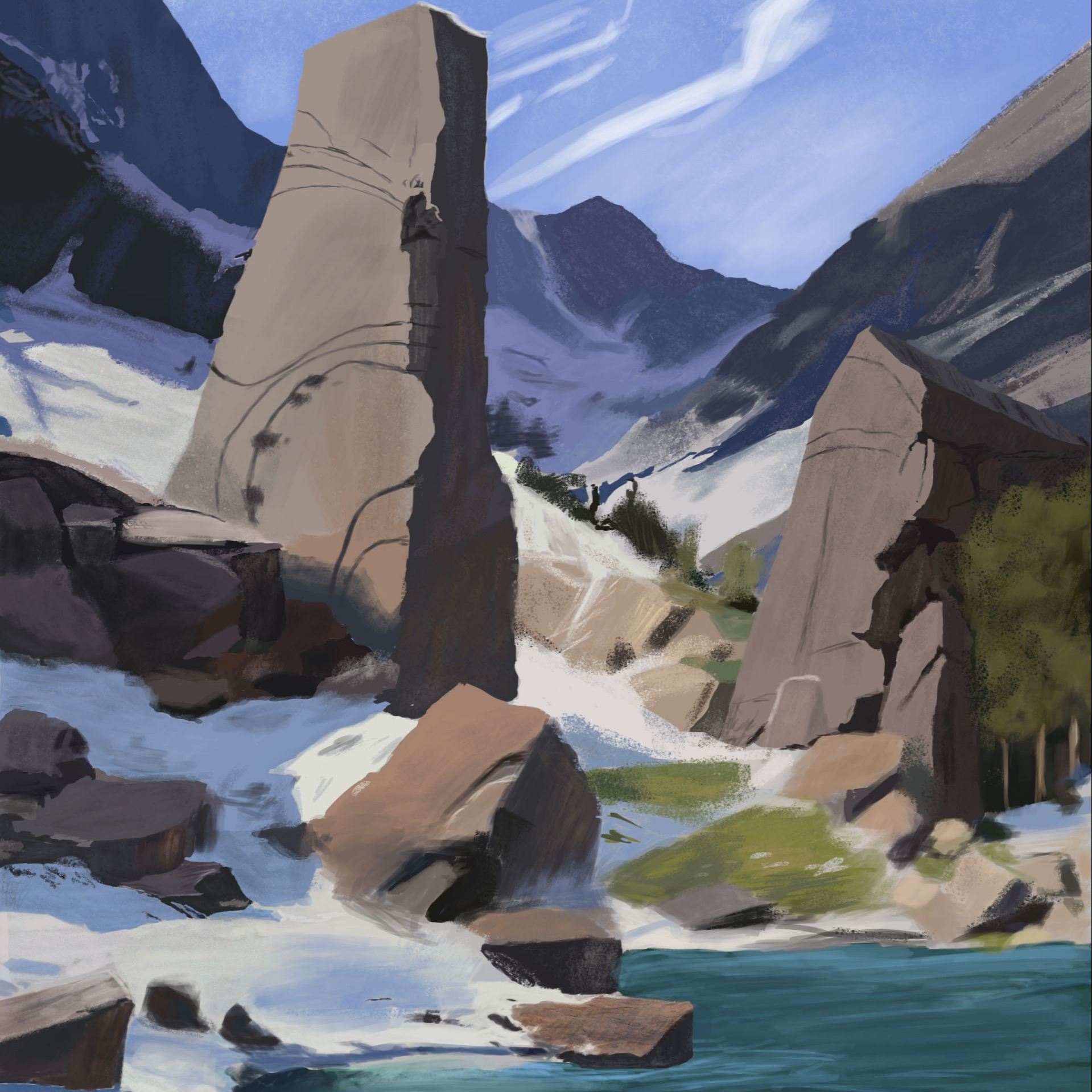 Rocks and Trees Study
