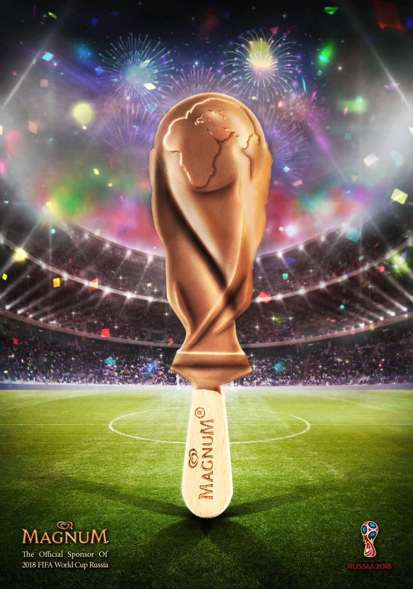 پوستر تبليغاتي بستني مگنوم  بمناسبت جام جهاني ٢٠١٨ روسيه